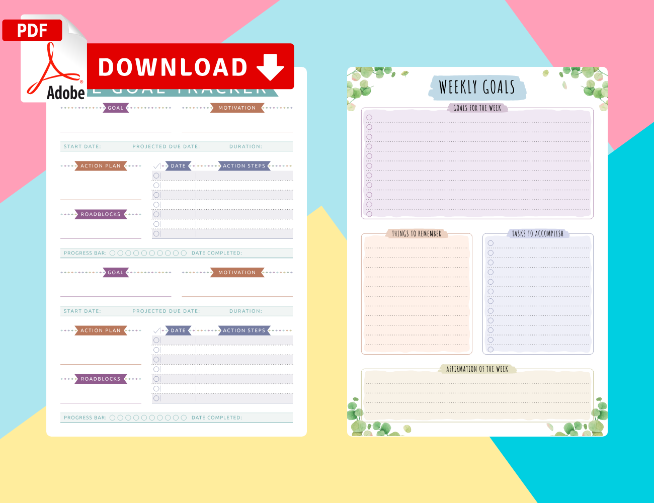 Printable Weekly Goal Planner Templates