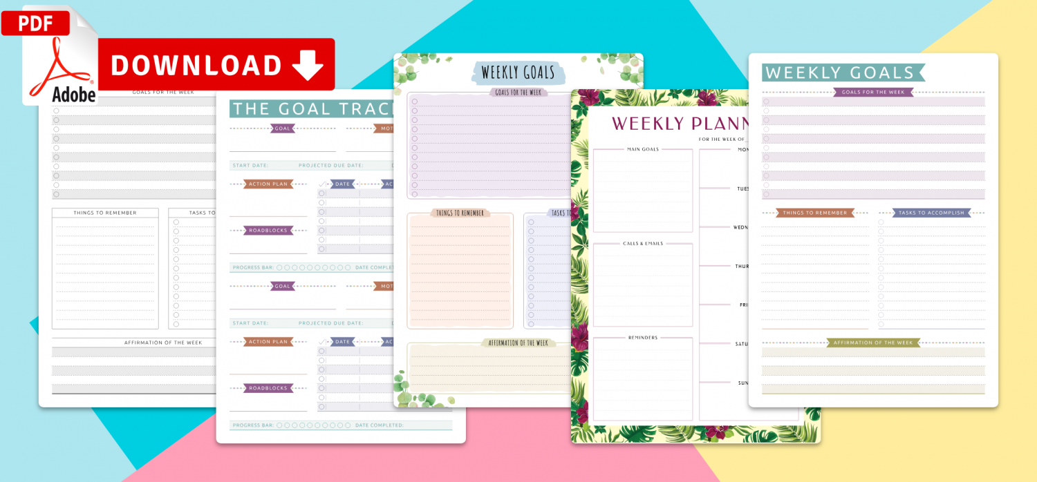 Download Weekly Goal Templates