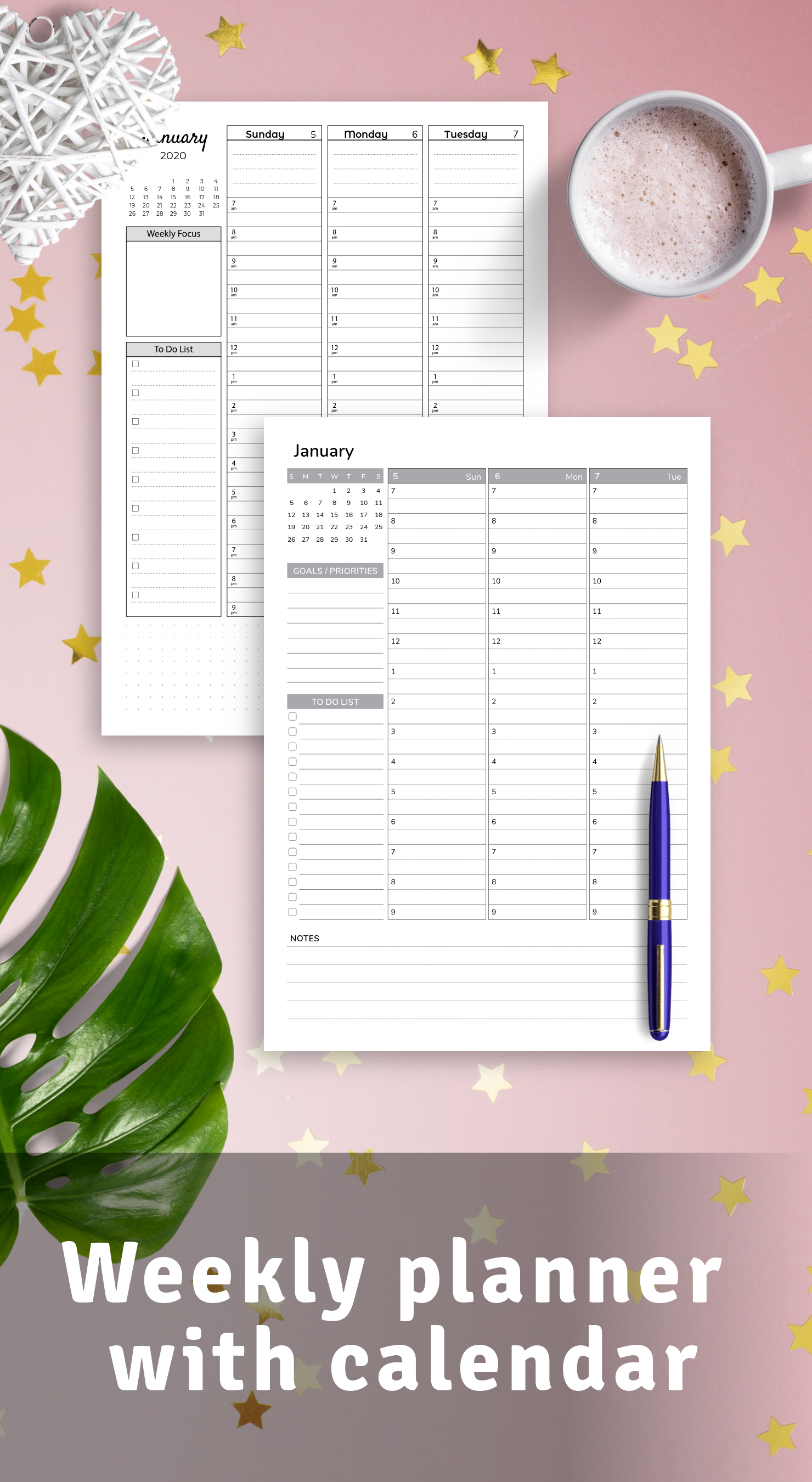 Weekly planners with calendar - Download printable PDF