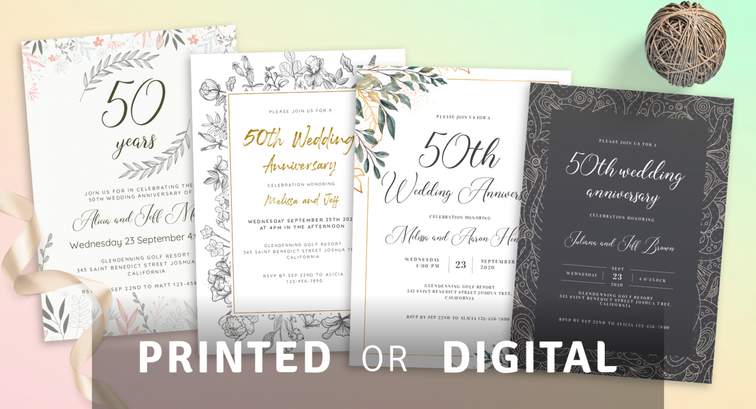 Anniversary Invitations Printed or Digital