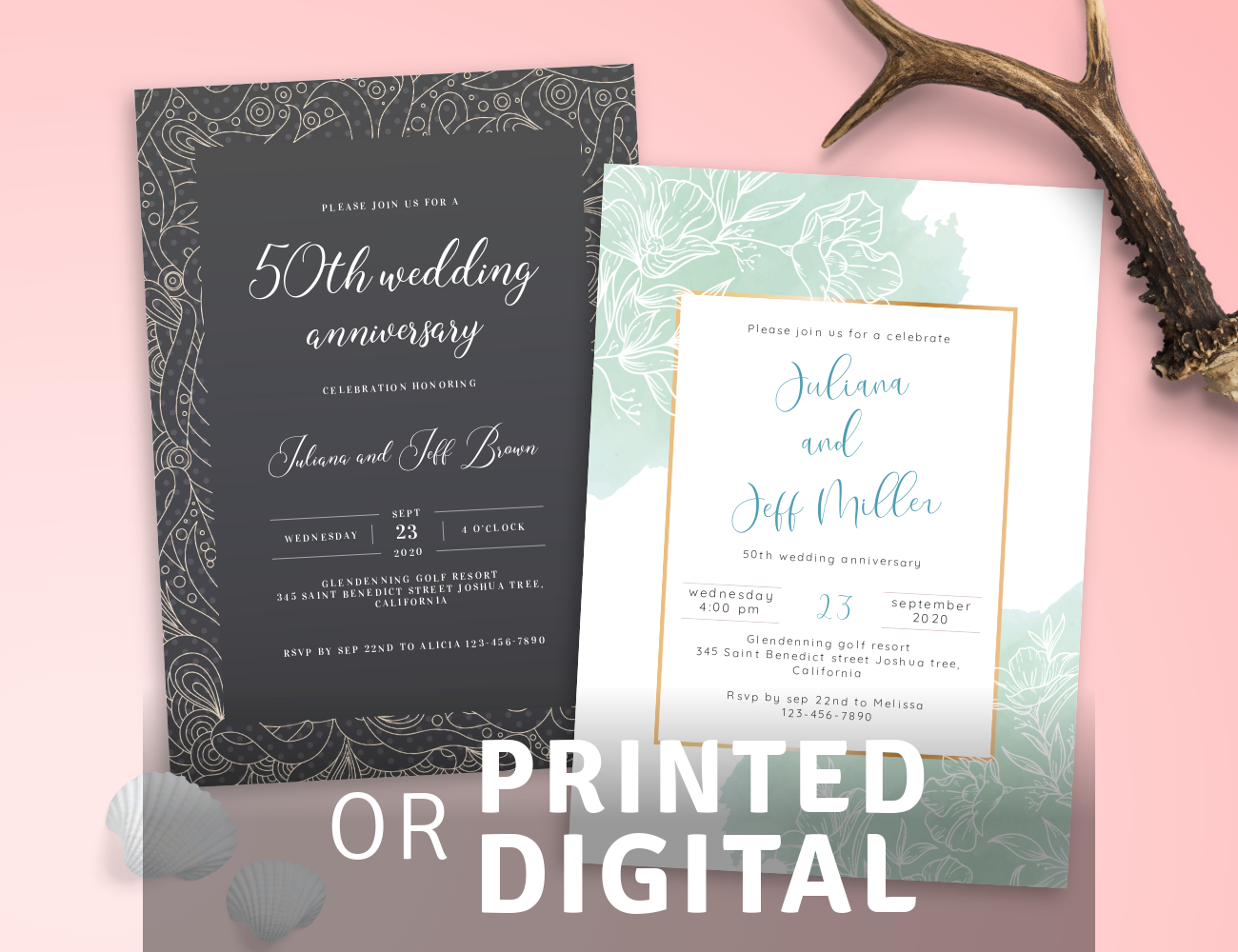 PDF or Printed Anniversary Invitations