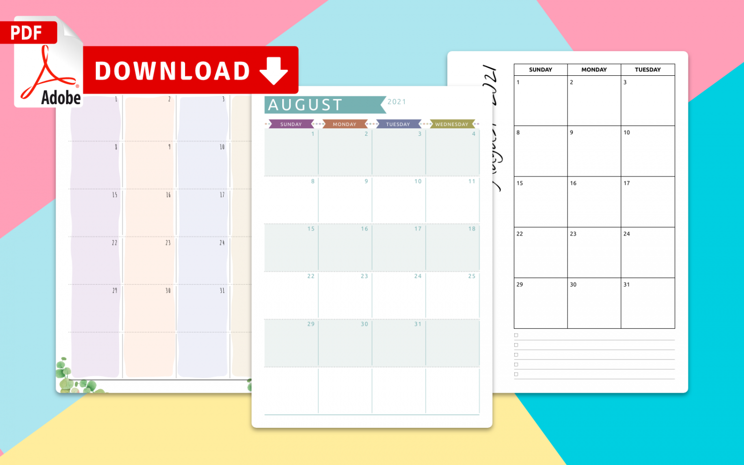 Download August Calendar Templates PDF
