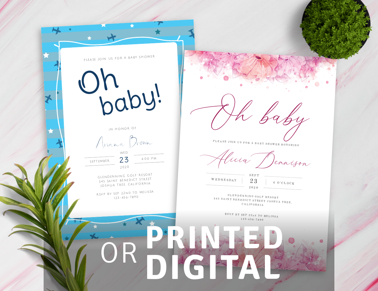 Boy and Girl Baby Shower Invitations