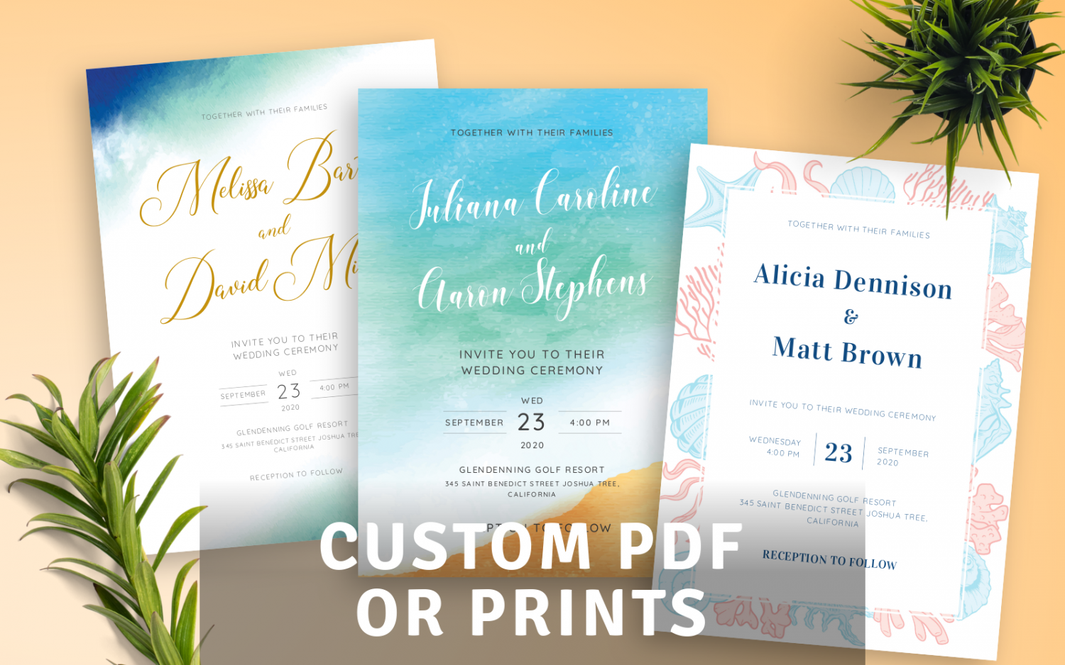 Beautiful Beach Wedding Invitations