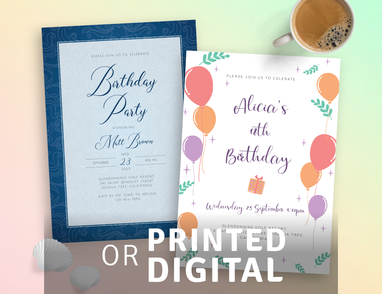 Printed or Digital Birthday Invitation Templates