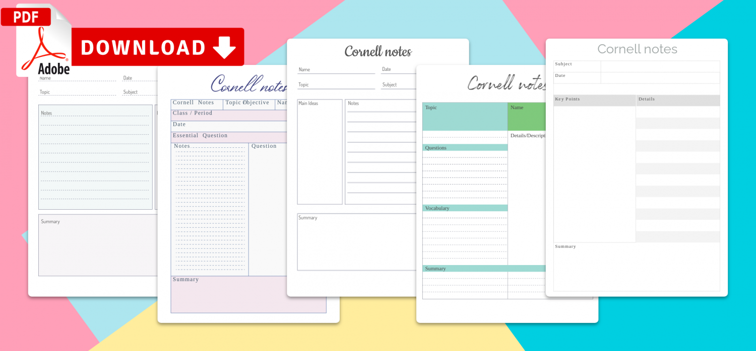 Printable Cornell Notes Templates