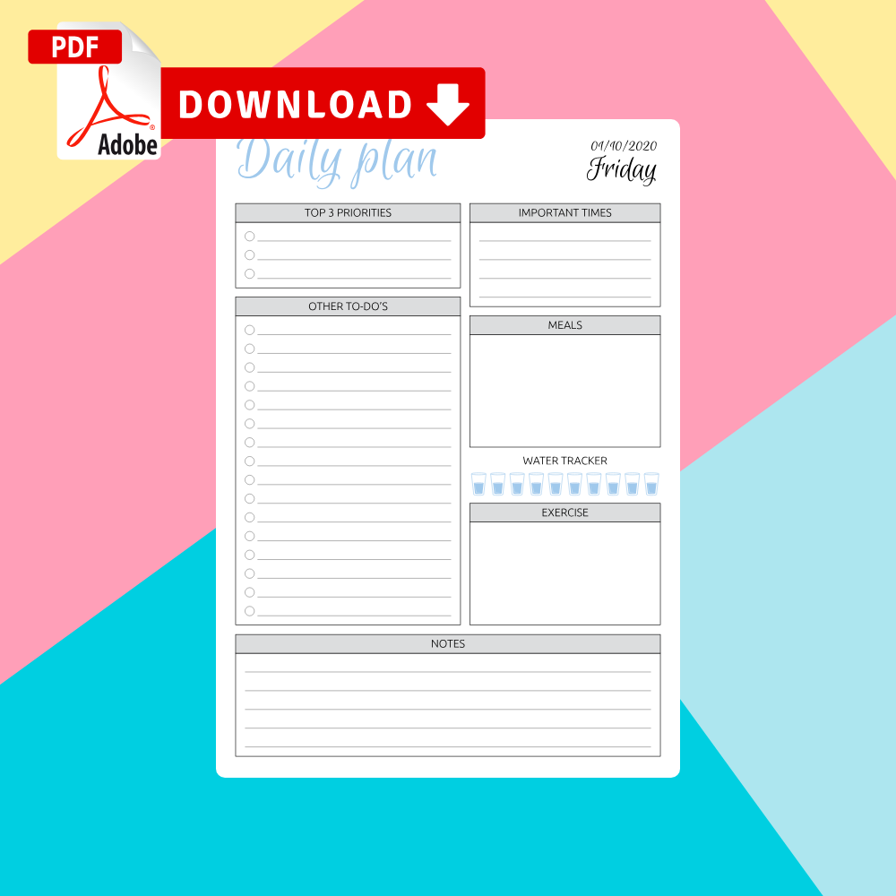 Printable Daily Planner Templates PDF
