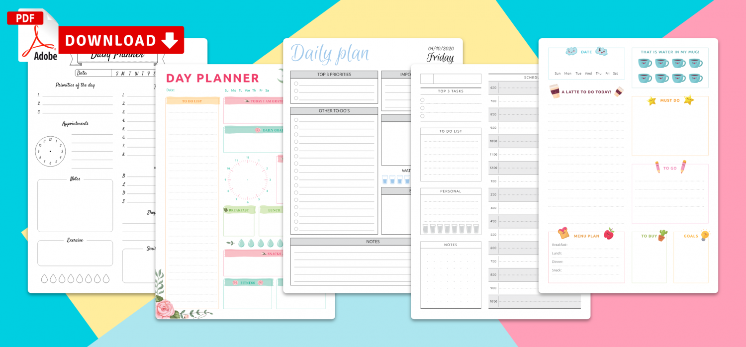 Download Printable Day Planners Templates PDF