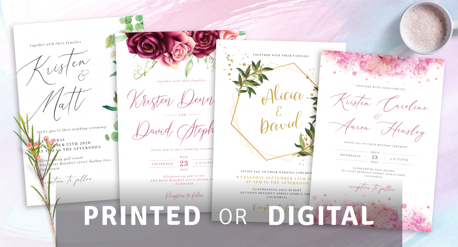 Printed and Digital Elegant Wedding Invitations