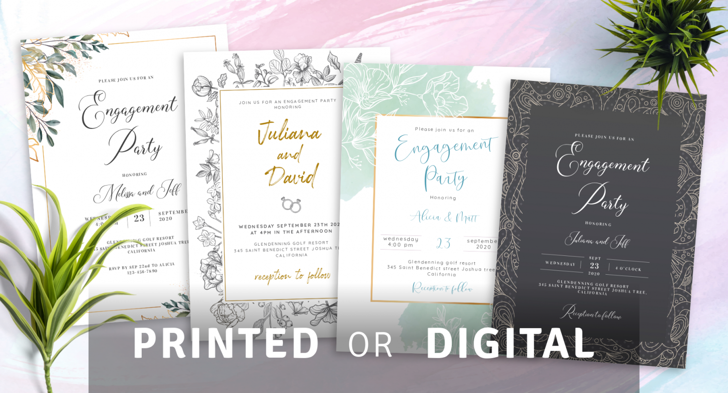 Create Engagement Party Invitations Printed or Digital
