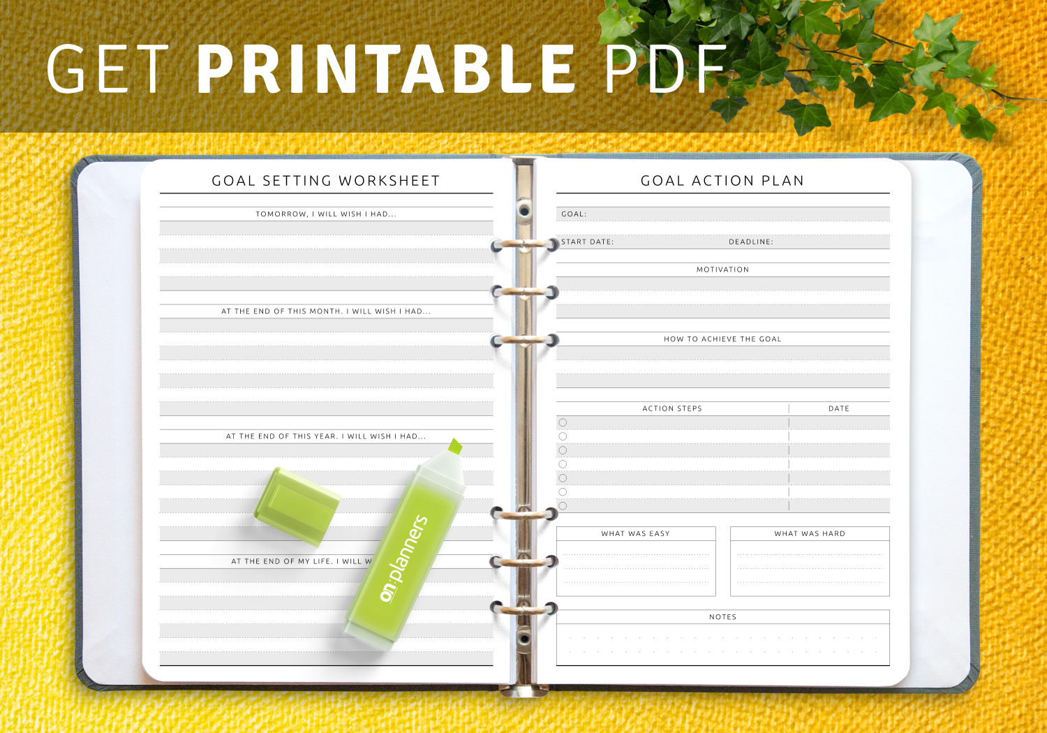 Printable Goal Setting Worksheets
