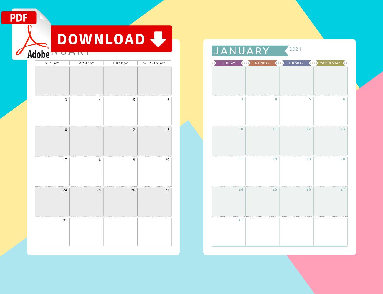 January 2021 Calendar - Download Printable Templates PDF
