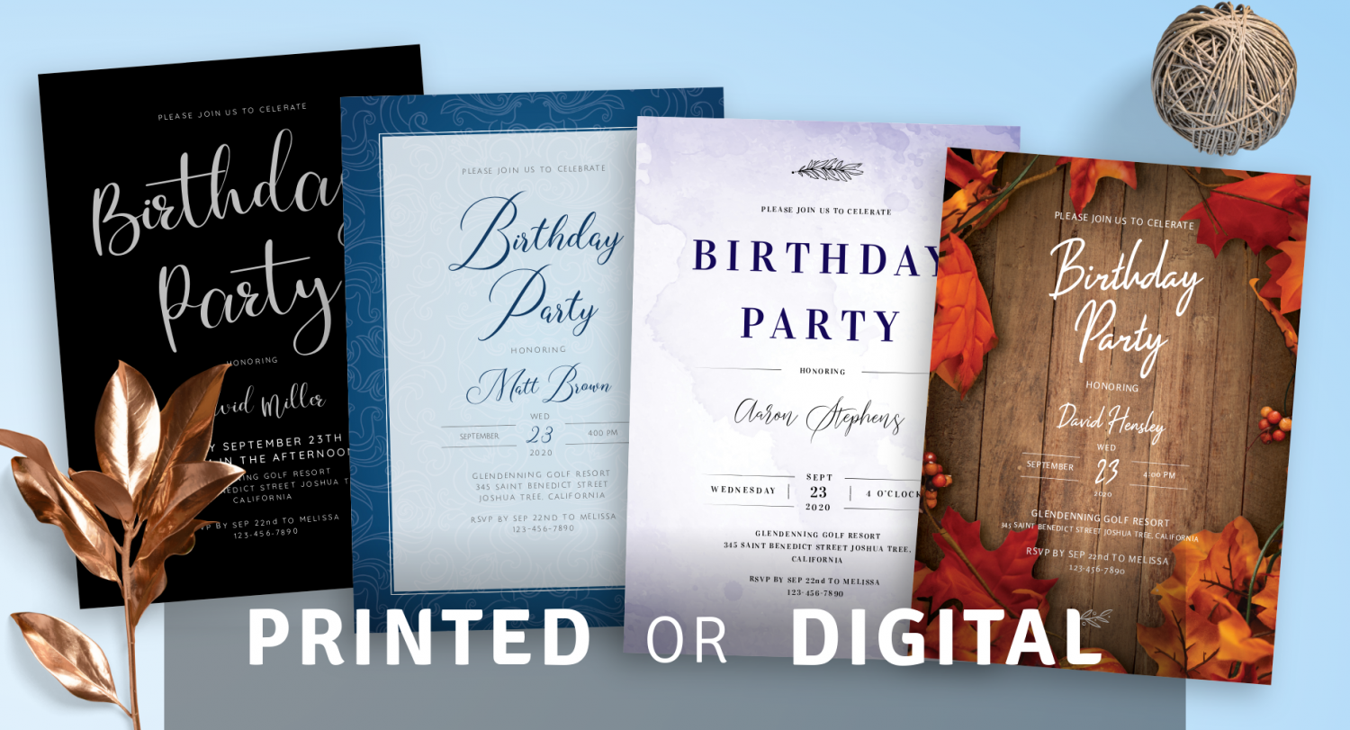 Men's Birthday Invitations Templates