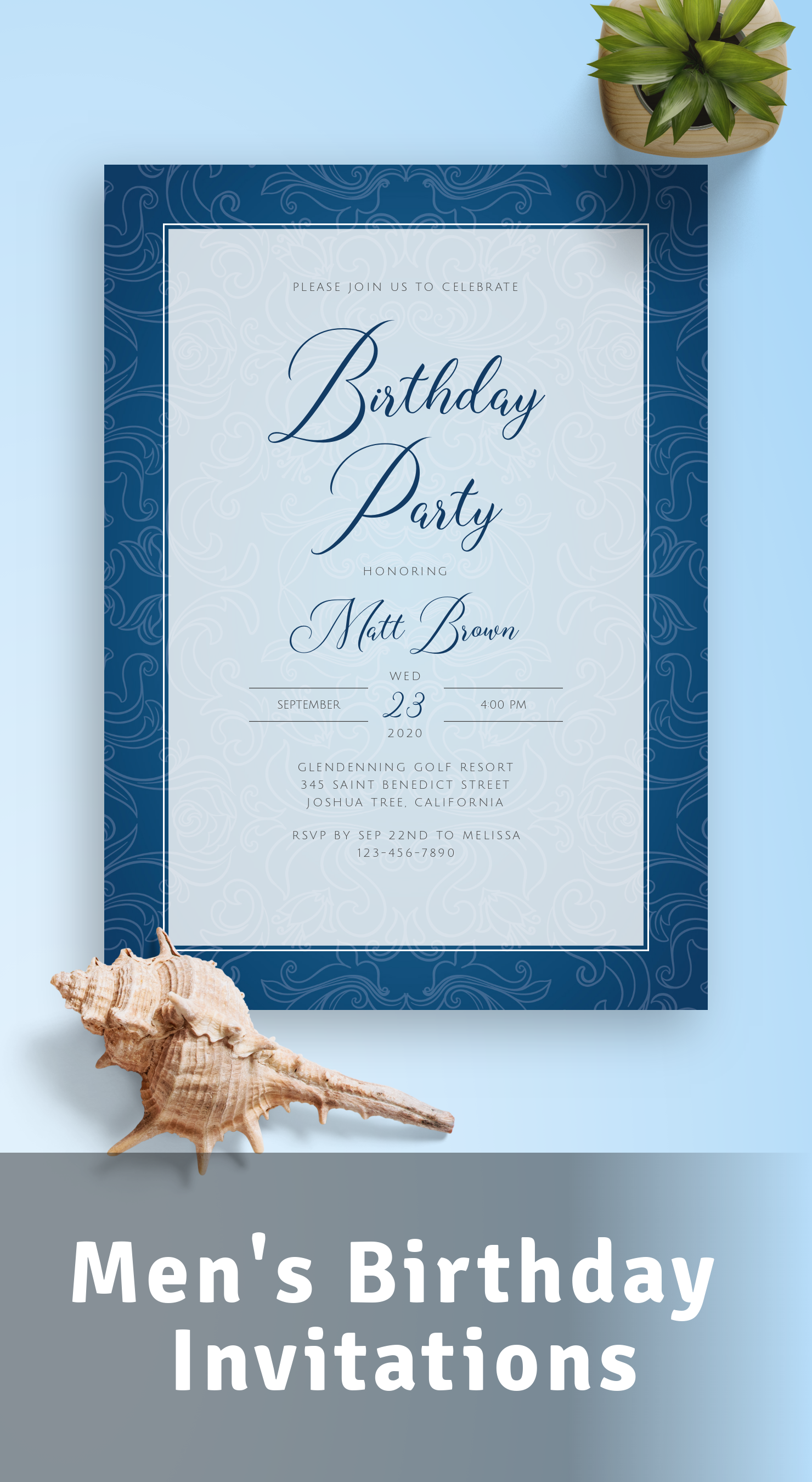 Men's Birthday Invitations