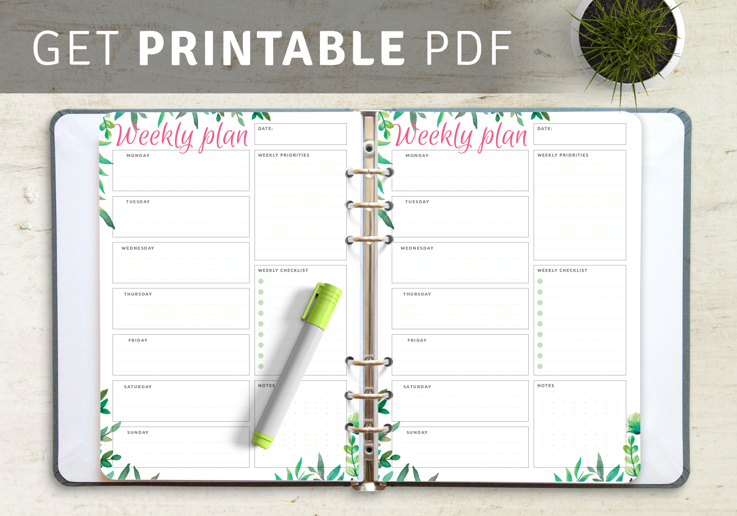Download Weekly Planner Templates PDF
