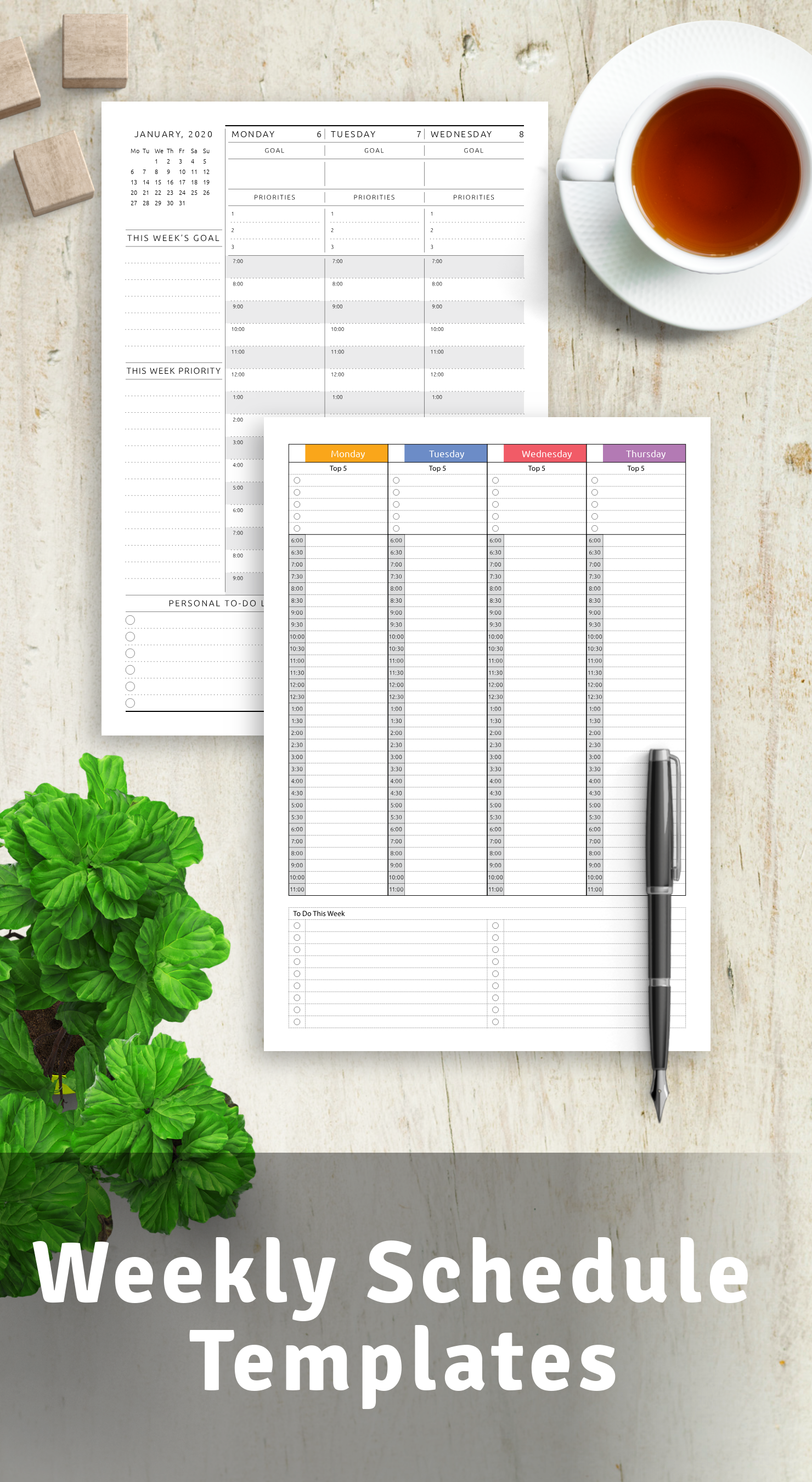 Printable Weekly Schedule Templates