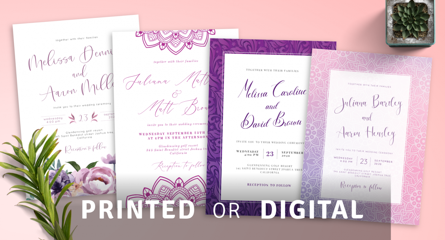 Printed or Digital Purple Wedding Invitations