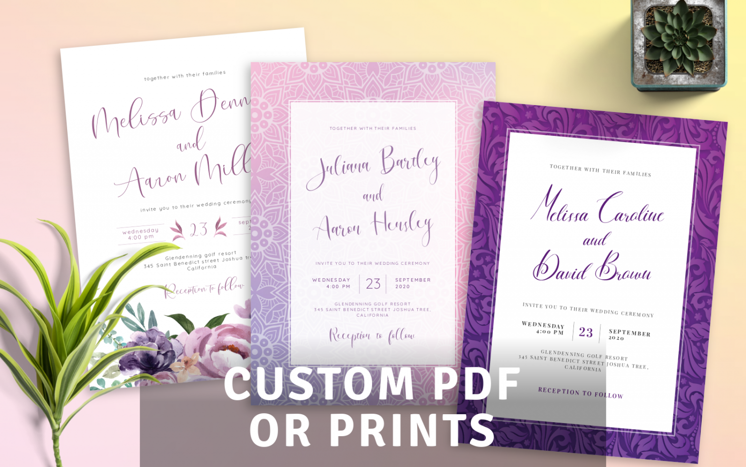 Custom Purple Wedding Invitations