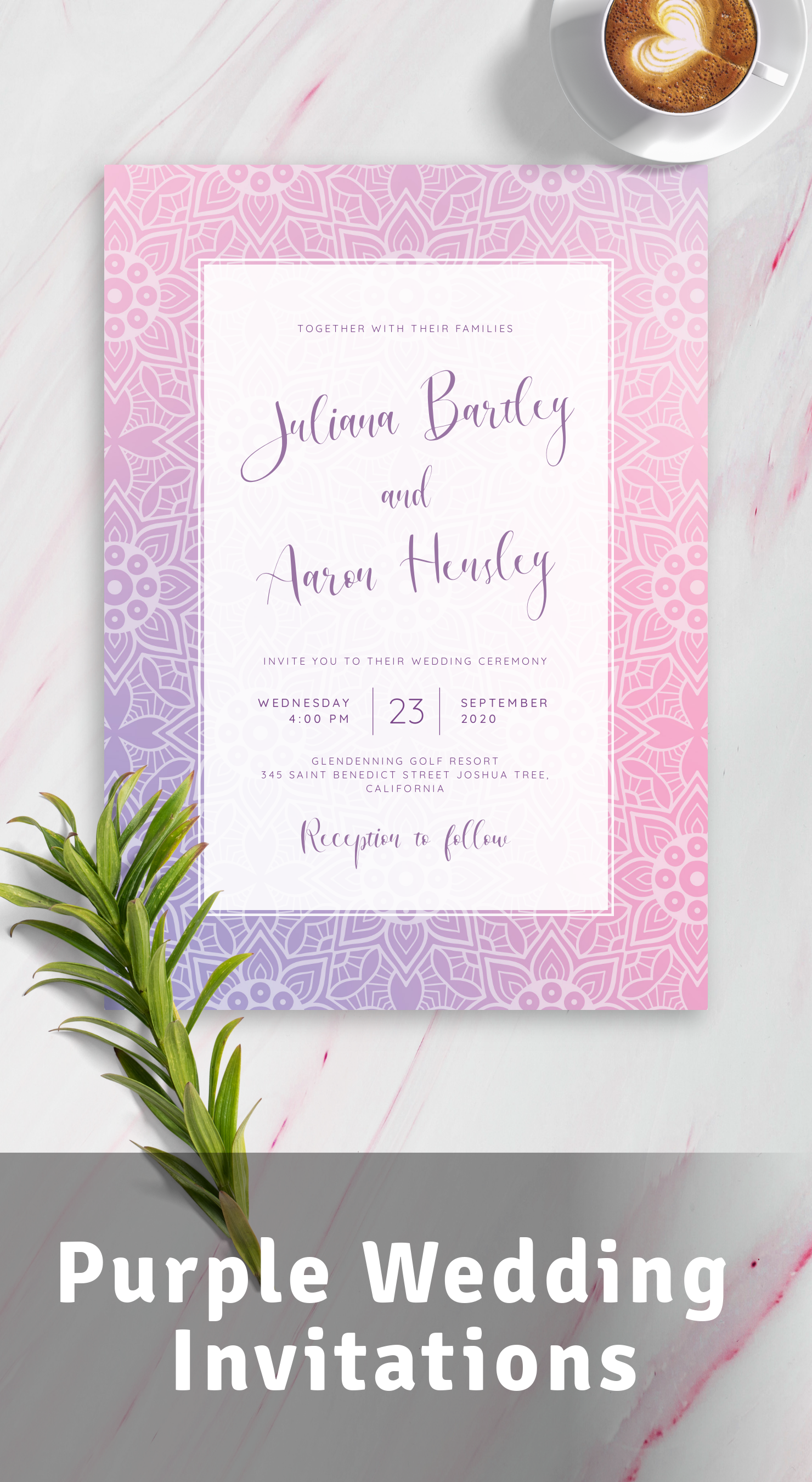 Get Mandala Purple Wedding Invitations