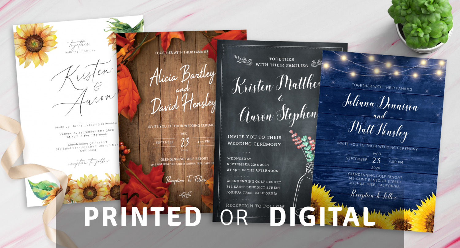 Printed or Digital Rustic Wedding Invitations