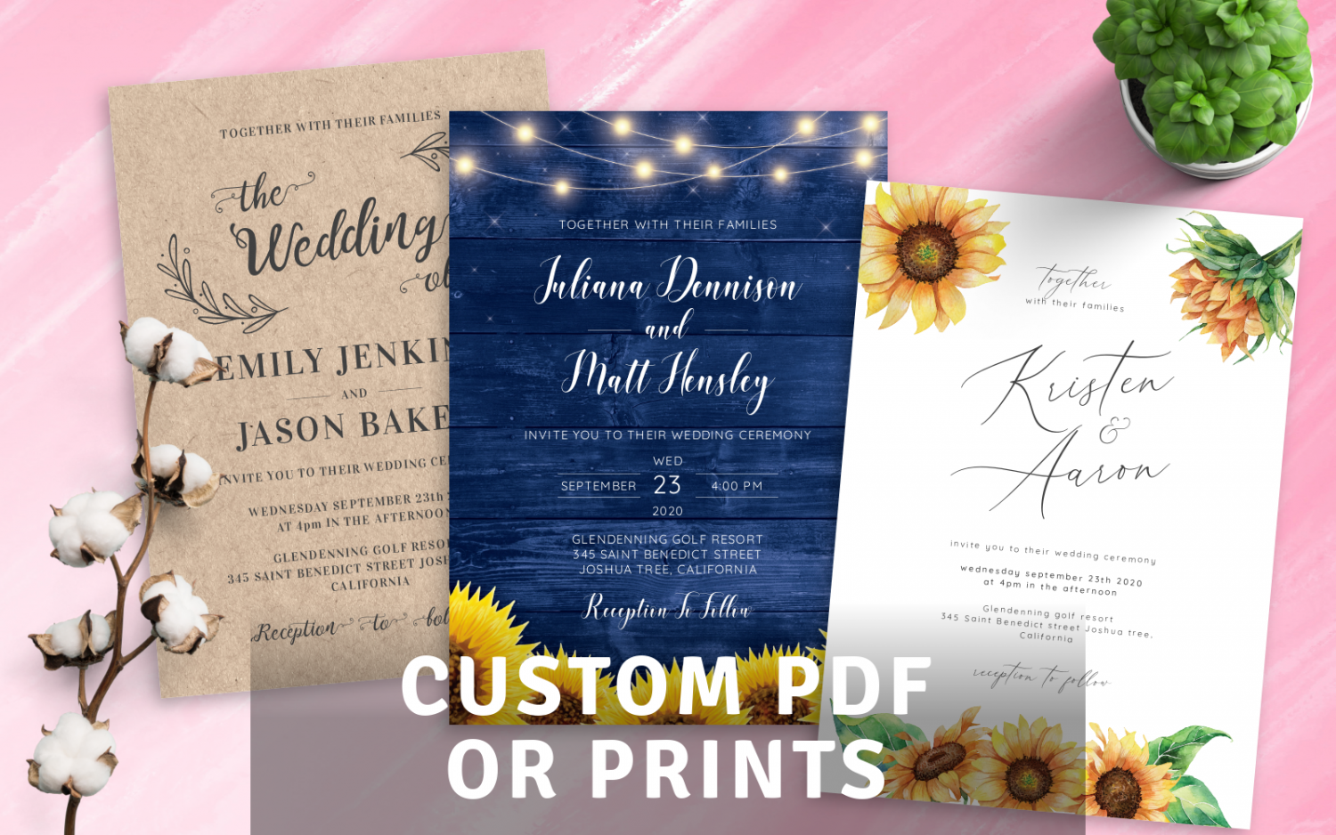 Custom Rustic Wedding Invitations