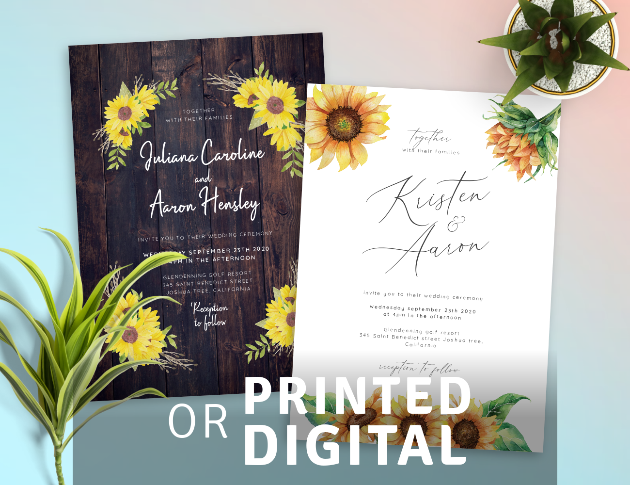 Custom Rustic Wedding Invitations Digital or Printed
