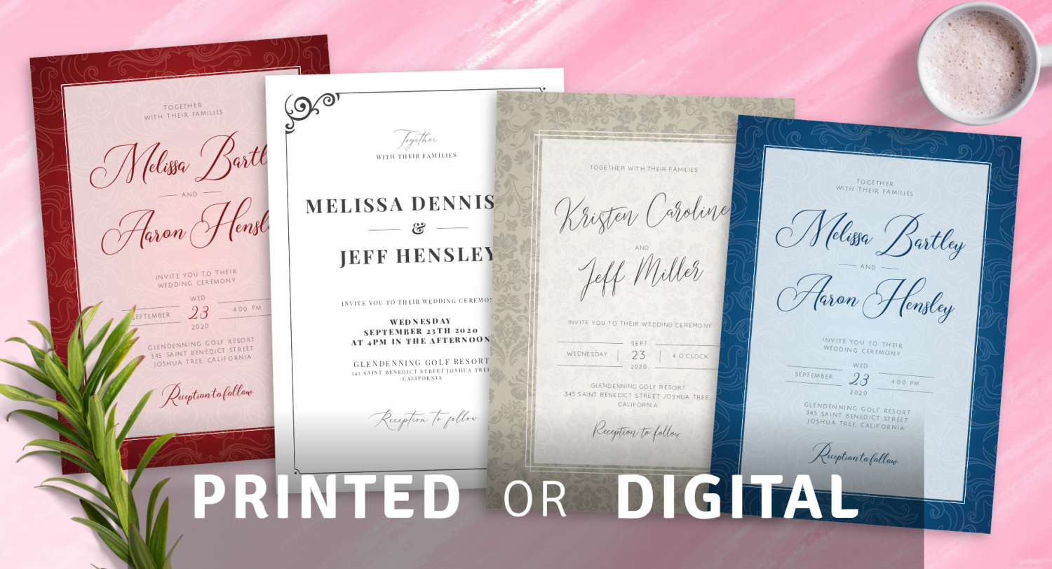 Customize and Print Vintage Wedding Invitations