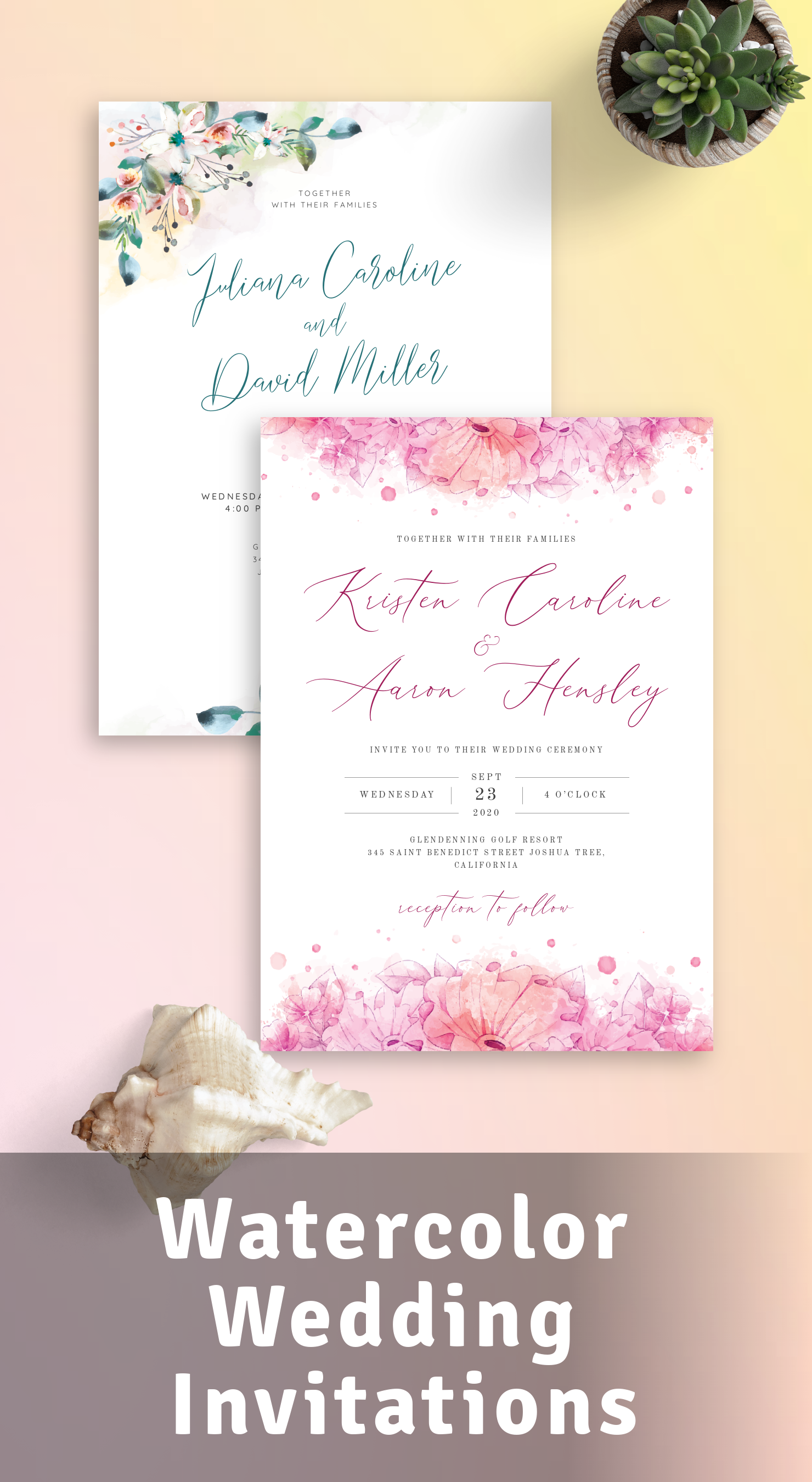 Best Watercolor Wedding Invitations