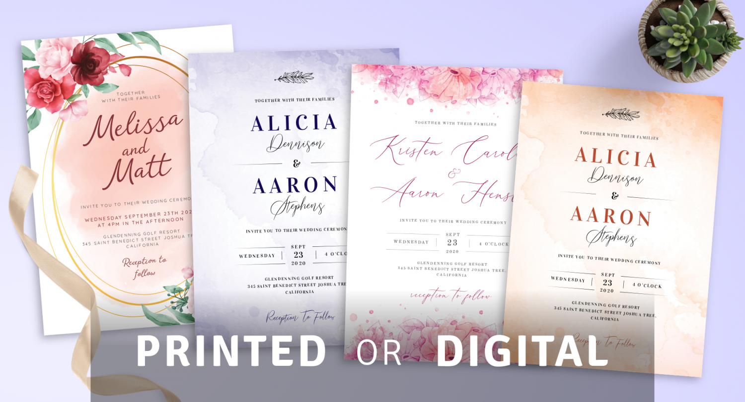 Printed or Digital Watercolor Wedding Invitations