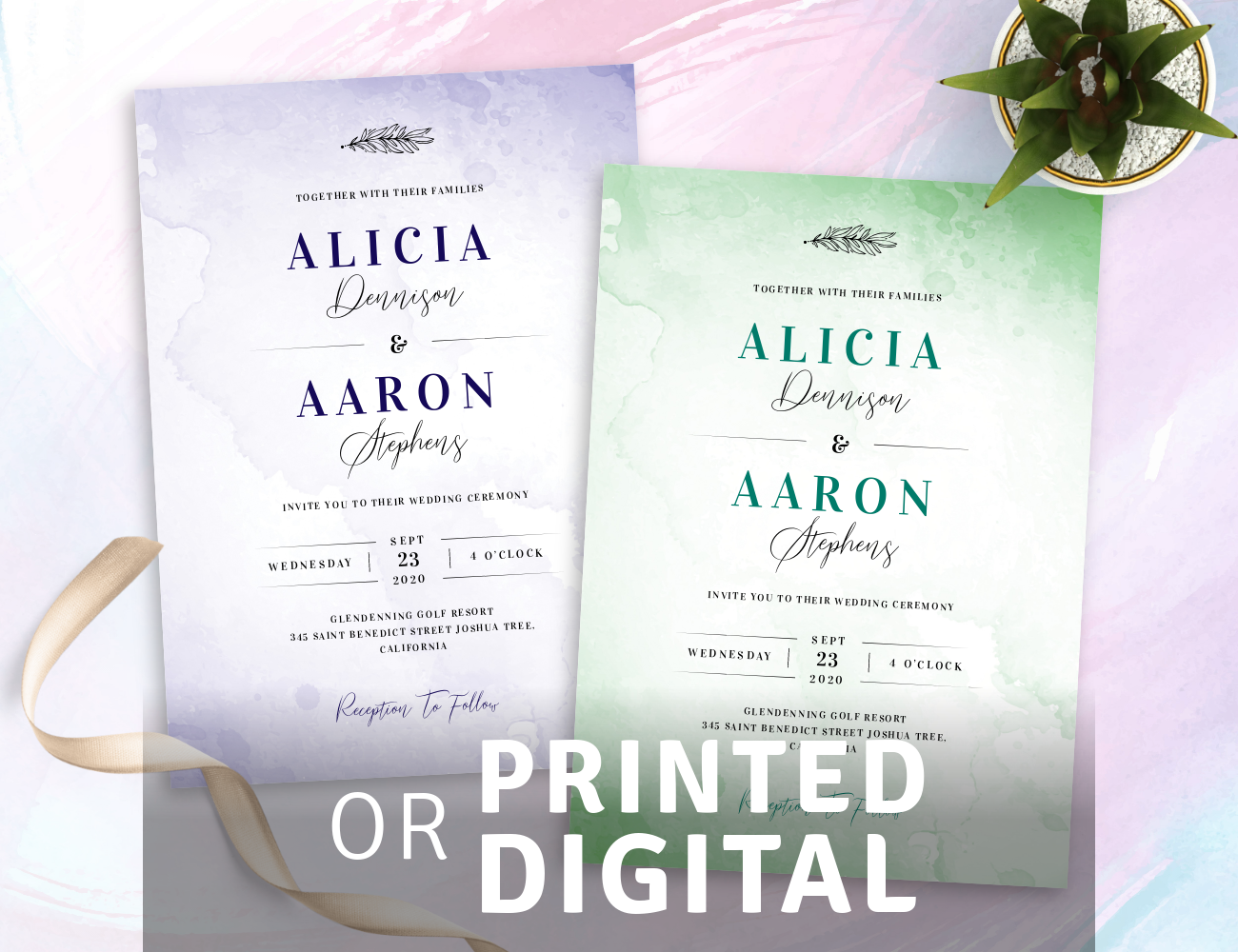 Watercolor Wedding Invitations Templates