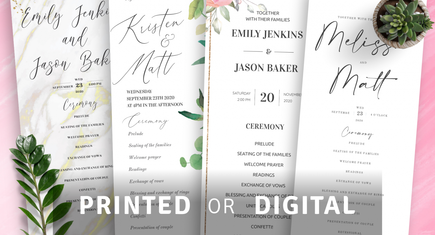 Custom Wedding Program Templates