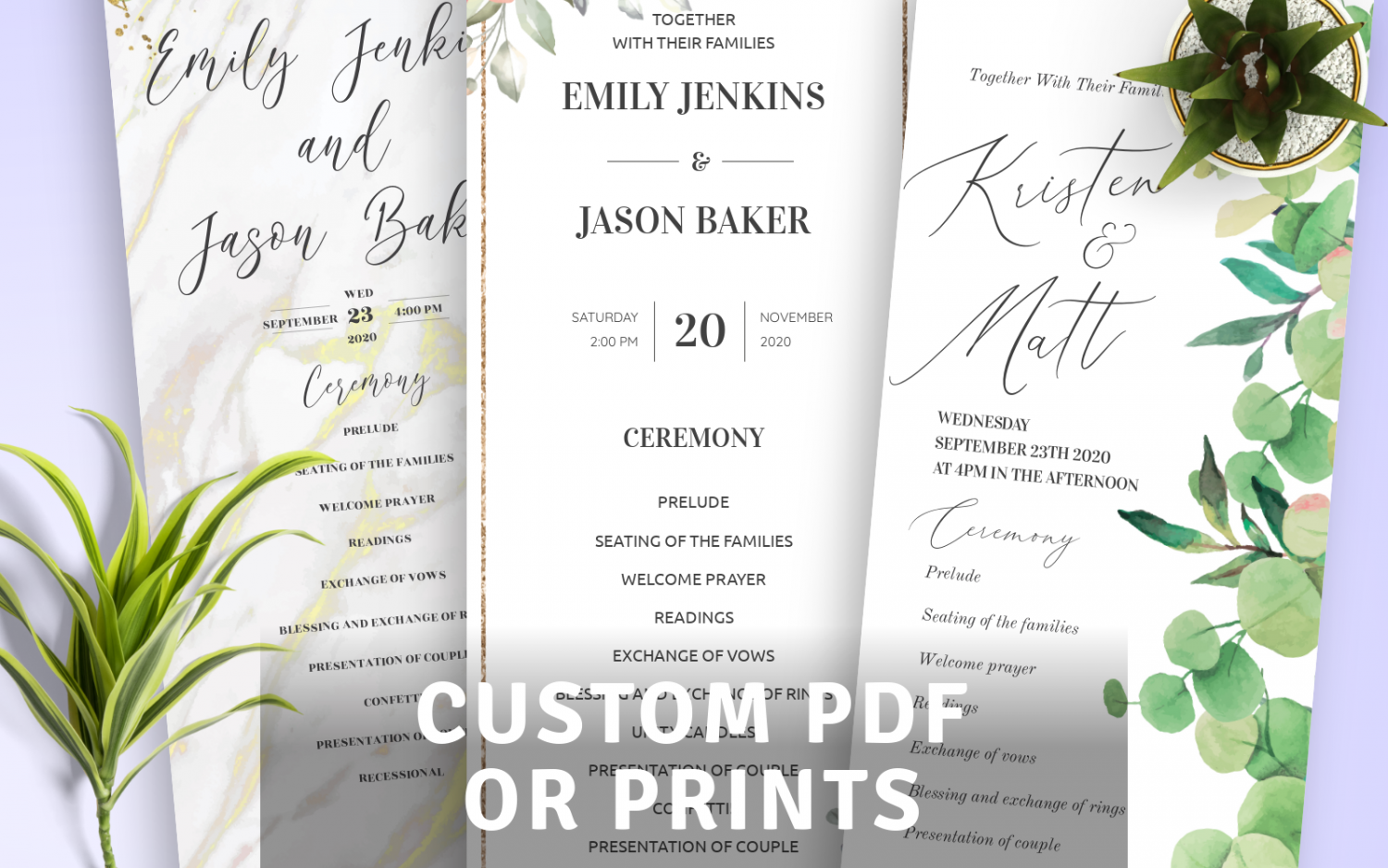 Download or Print Wedding Program Templates