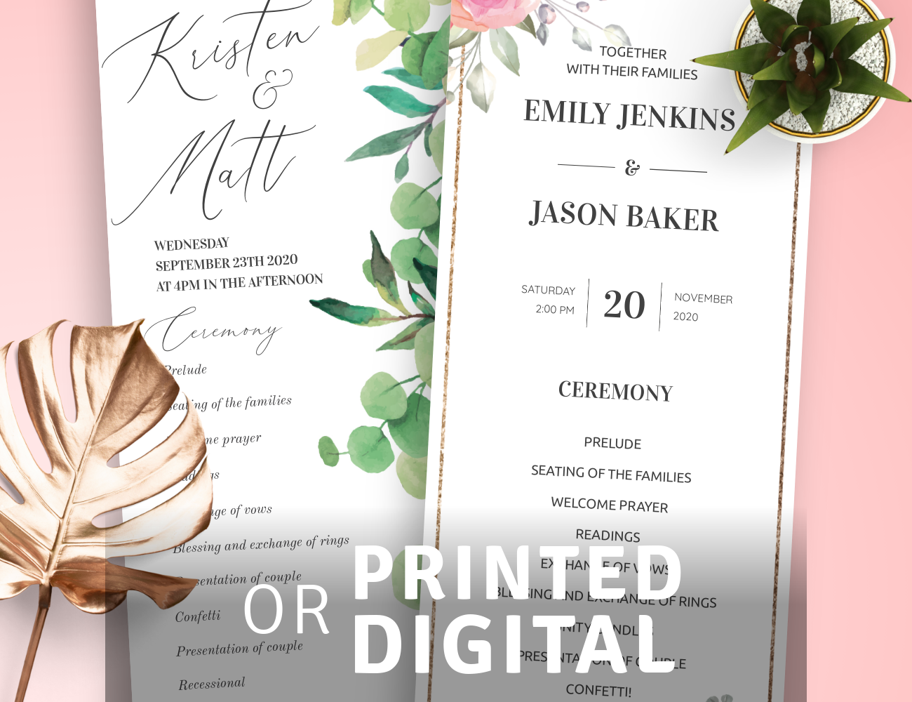 Program Templates for Wedding
