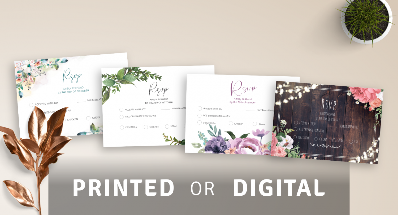 wedding rsvp cards  digital or printed