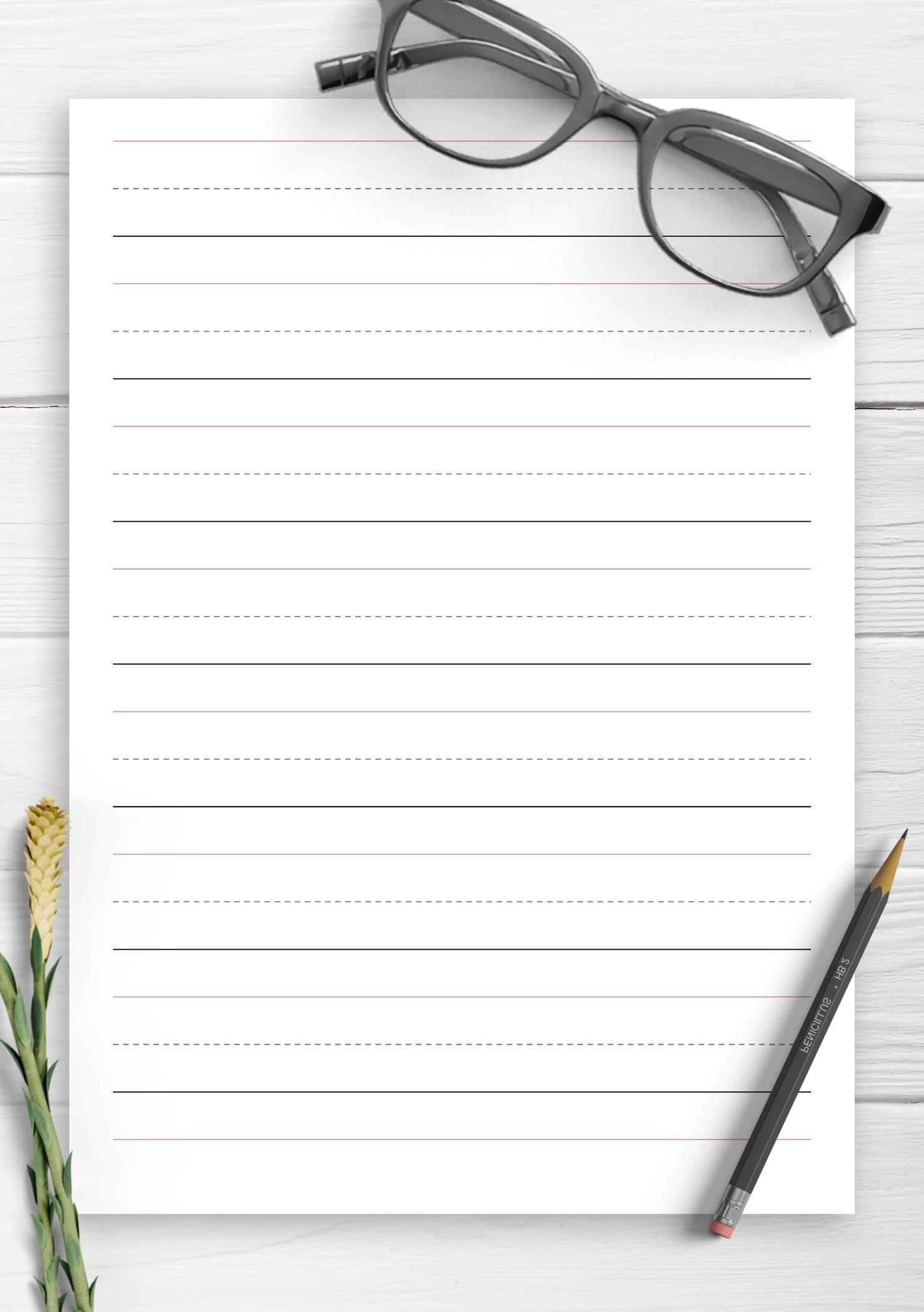 graphic regarding Printable Handwriting Paper identified as Free of charge Printable 1 inch Rule Handwriting Paper PDF Down load