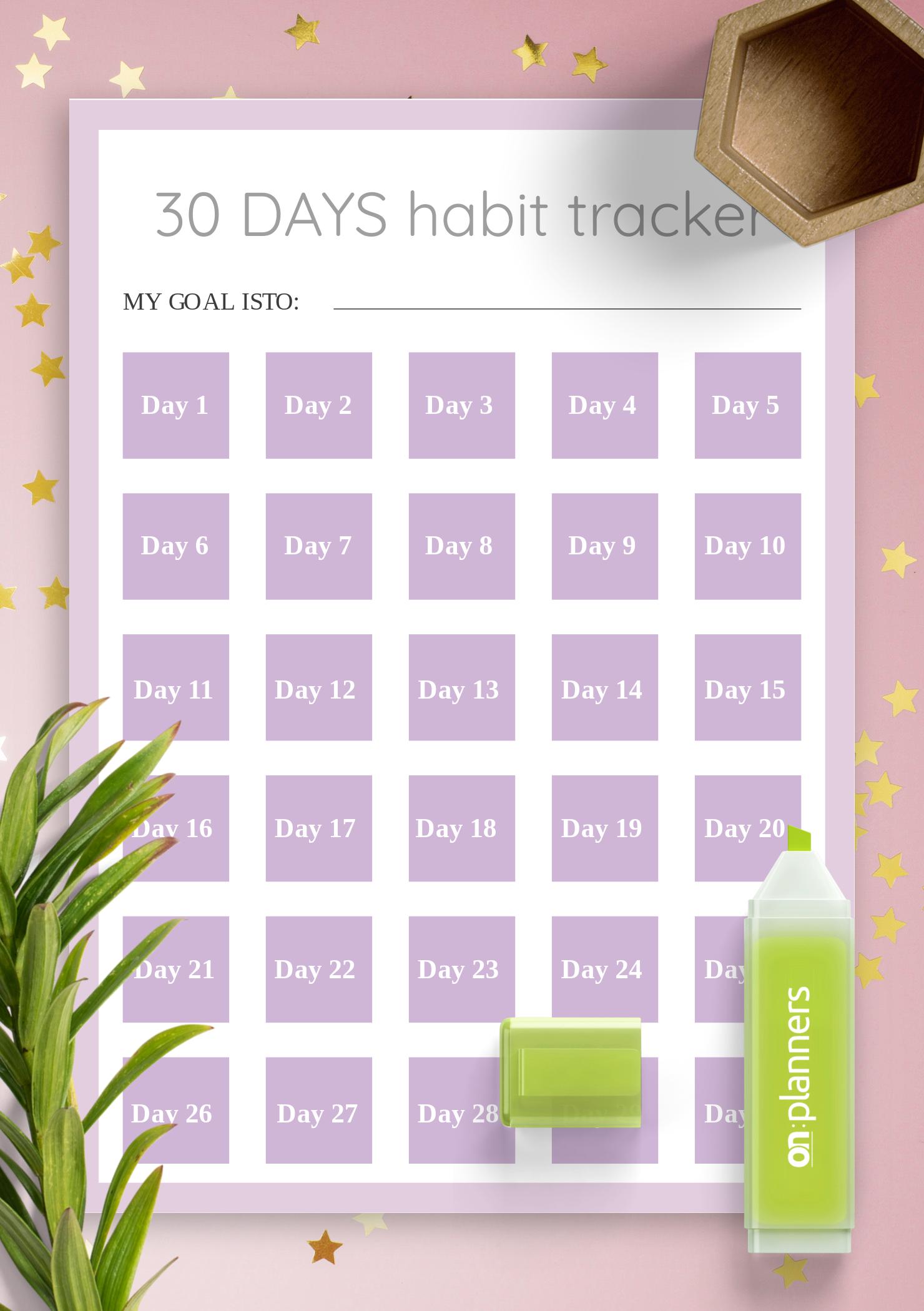 Download Printable 30 Days Habit Tracker Template Pdf
