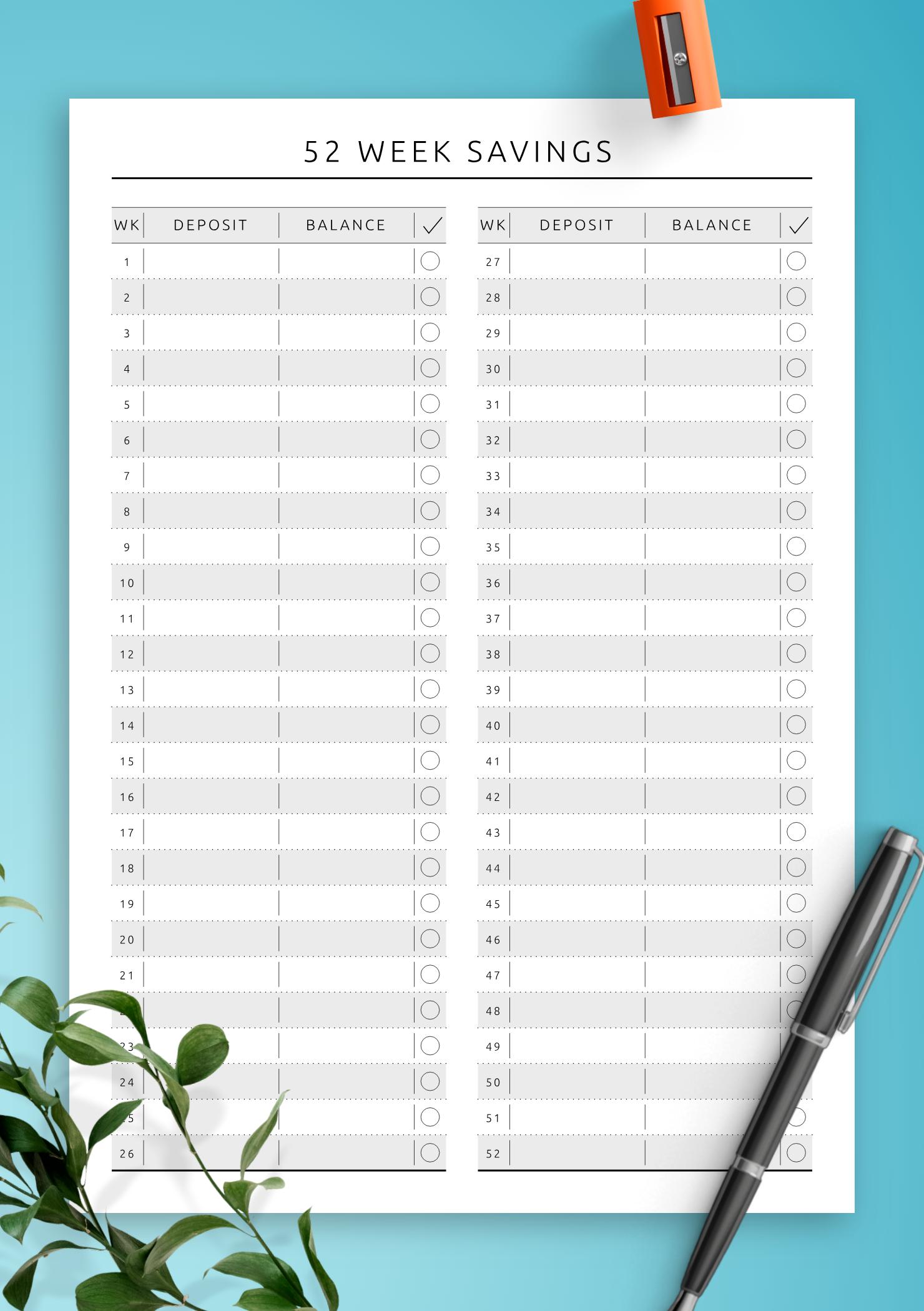 photo relating to Savings Printable identify Cost-free Printable 52 7 days Price savings - Authentic Design PDF Obtain