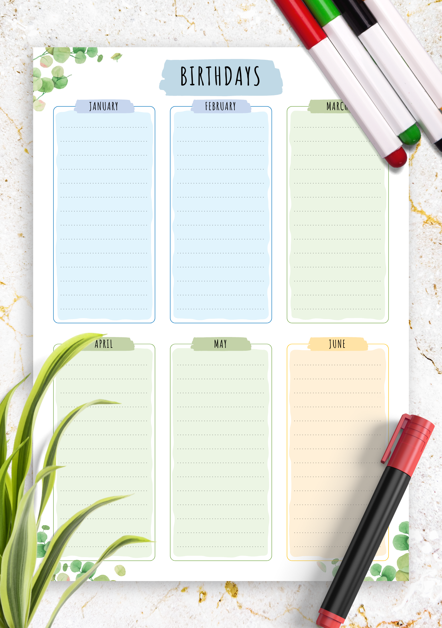 photograph about Free Printable Birthday Calendar identify Totally free Printable Birthday Calendar - Floral Structure PDF Down load