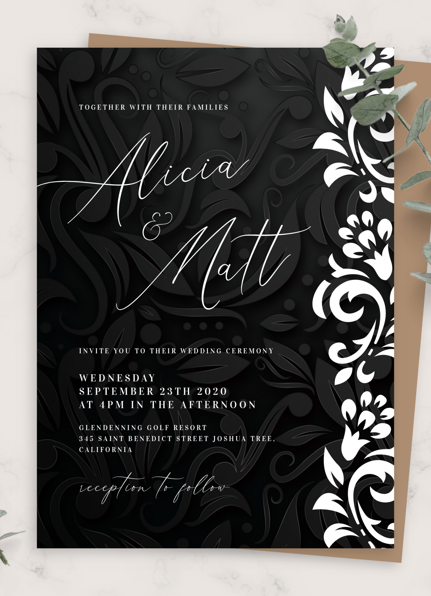 Download Printable Black And White Wedding Invitation Pdf