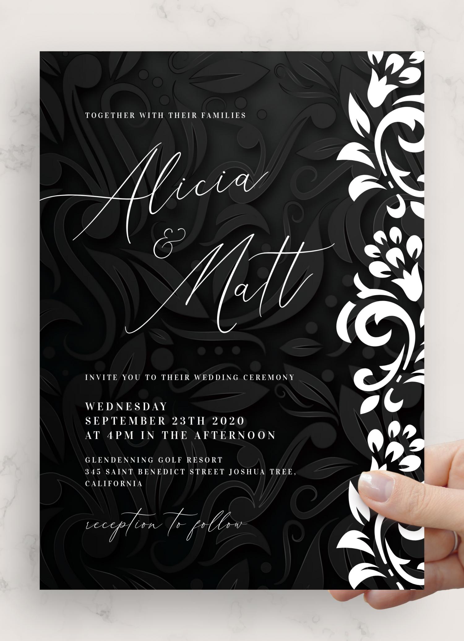 Download Printable Black And White Wedding Invitation Pdf