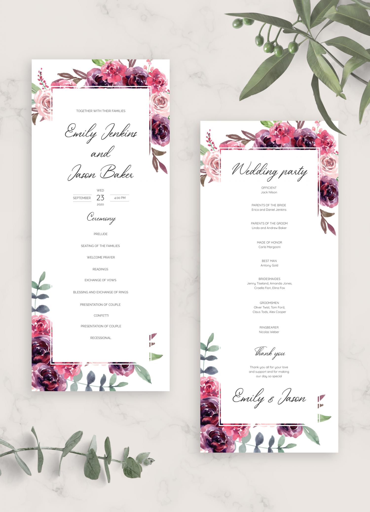 100 Wedding Ceremony Program Cards