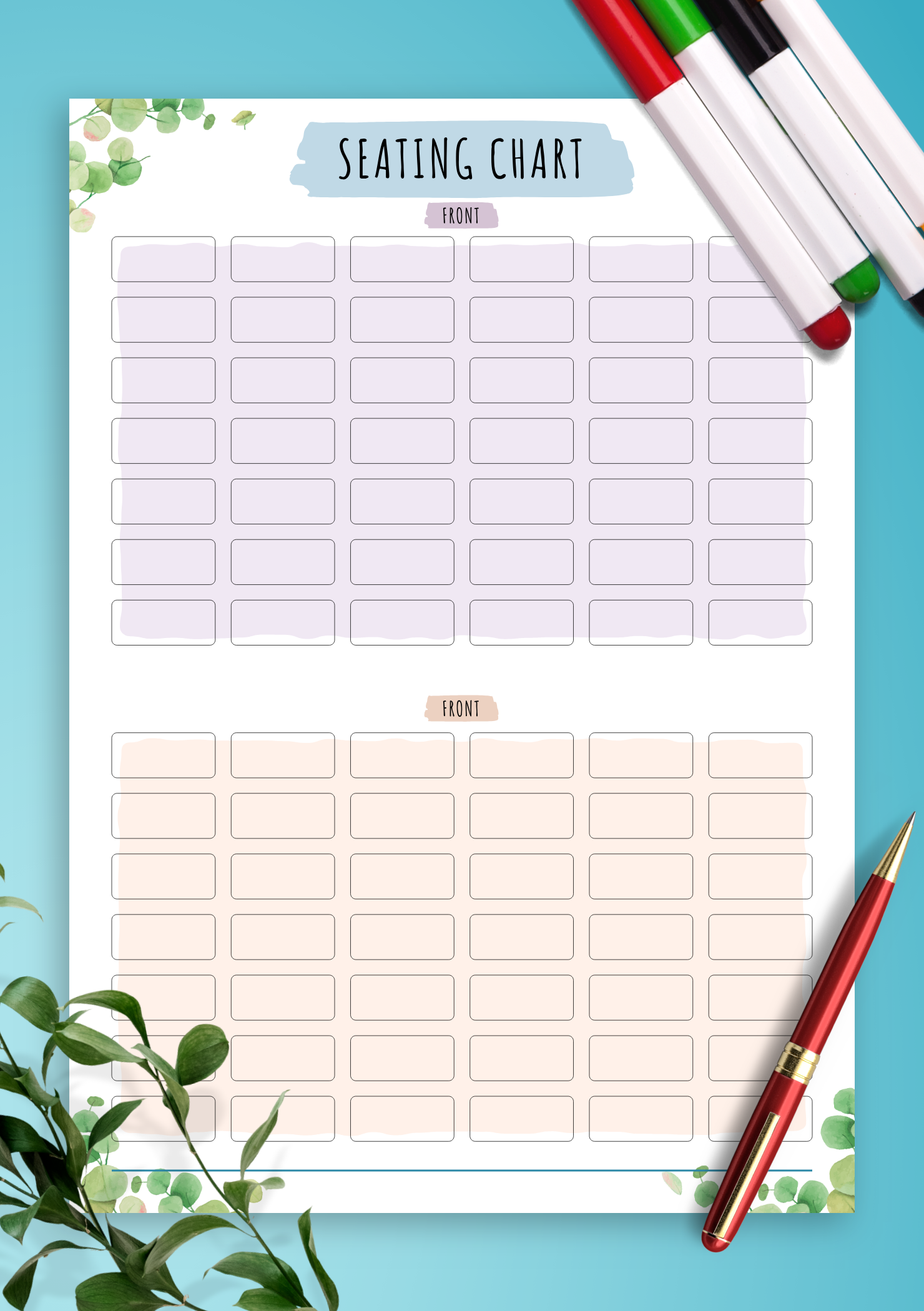 photo relating to Printable Seating Chart identify Absolutely free Printable Cl Attendance Seating Chart - Floral