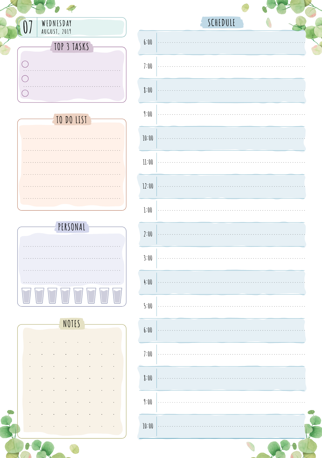 download printable daily planner