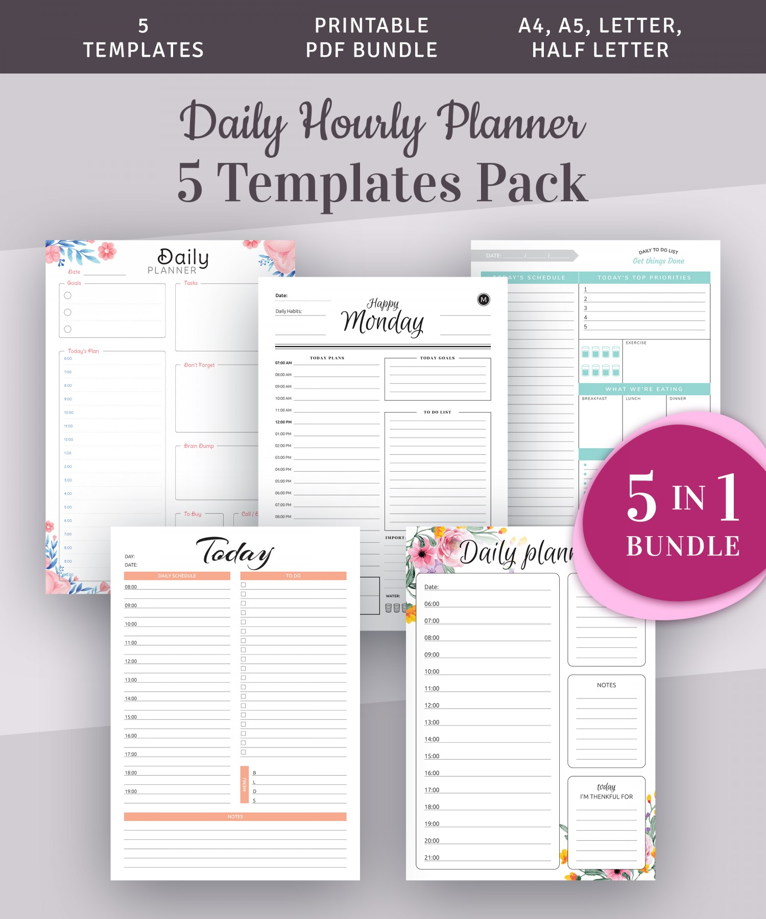 Free Printable Daily Planner Templates 5 in 1 Bundle PDF