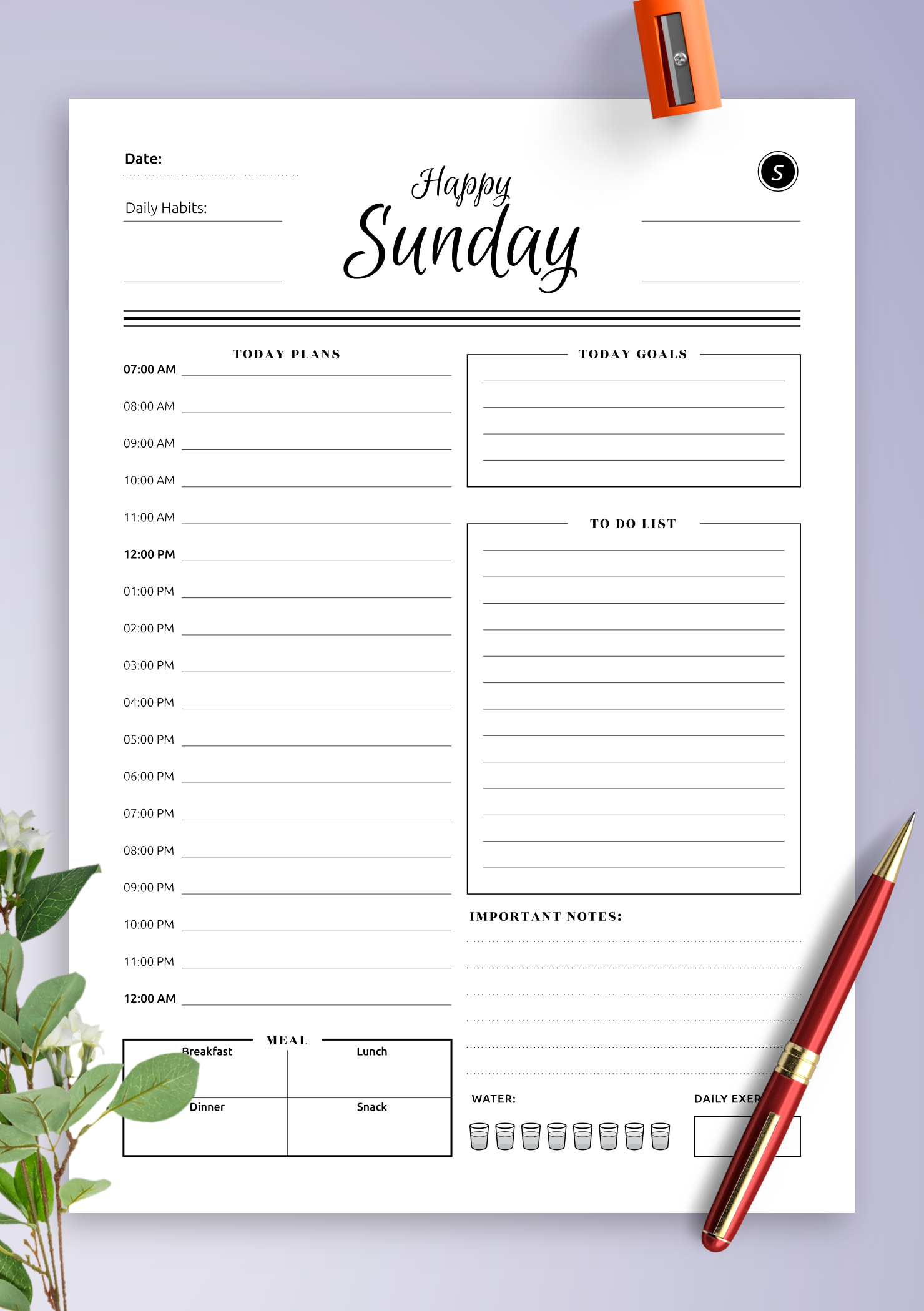 download printable daily planner templates 5 in 1 bundle pdf