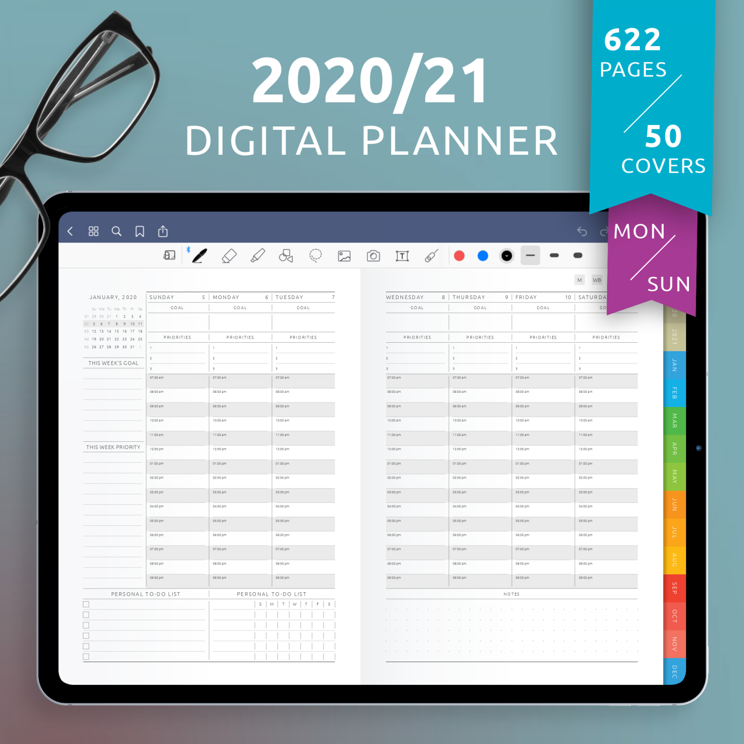 Download Digital Planner PDF for GoodNotes, iPad