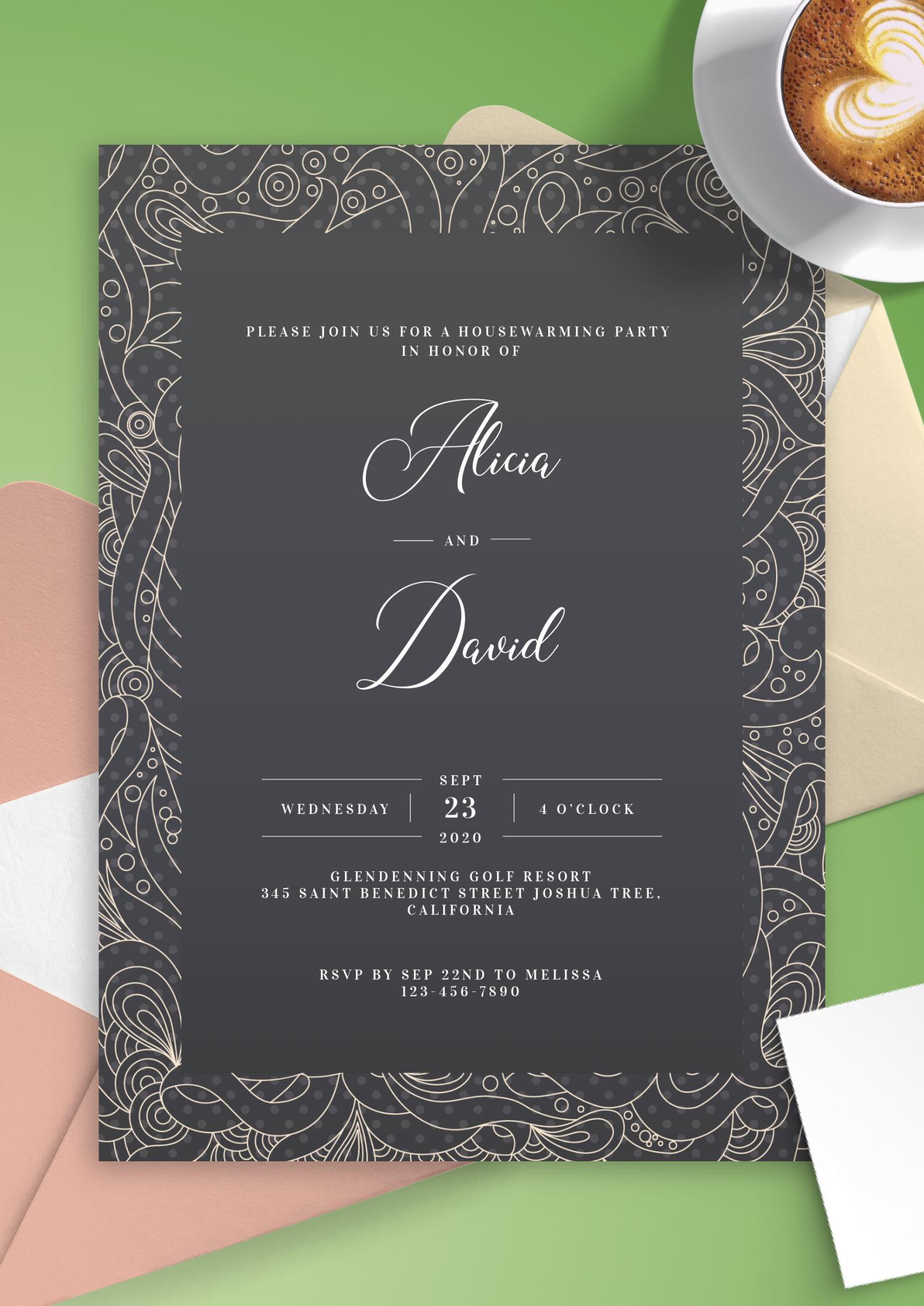 download printable fancy pattern housewarming invitation pdf