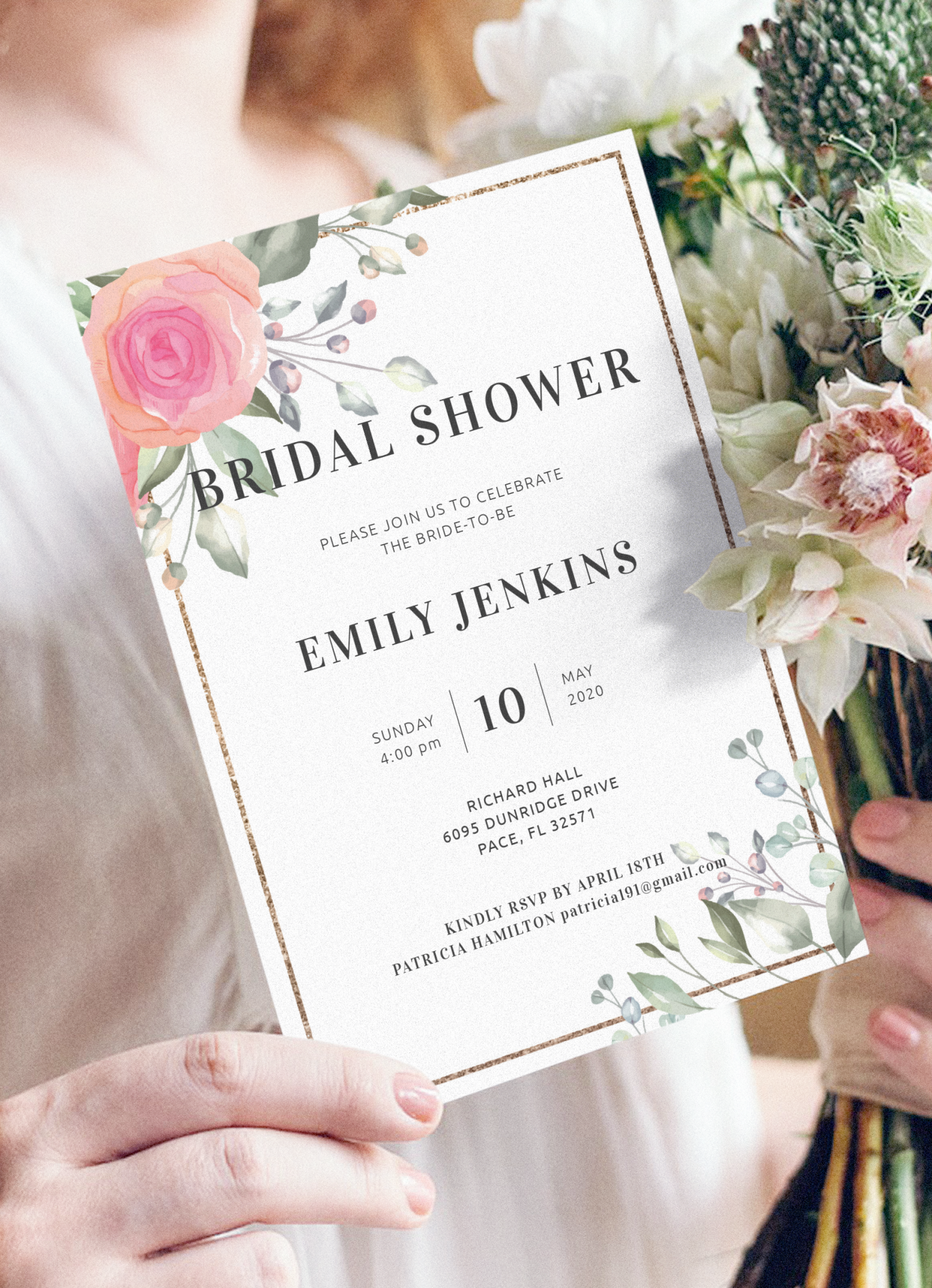 Printable Bridal Shower Invitation Many color options Downloadable File Wedding Made to order
