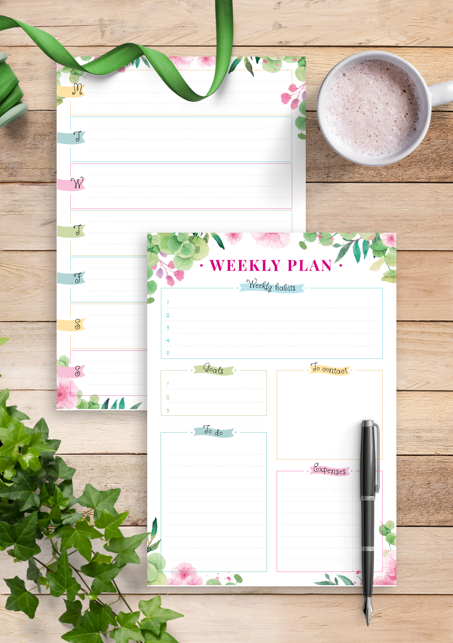 graphic regarding Floral Printable called No cost Printable Floral 7 days Upon 2 Internet pages PDF Down load