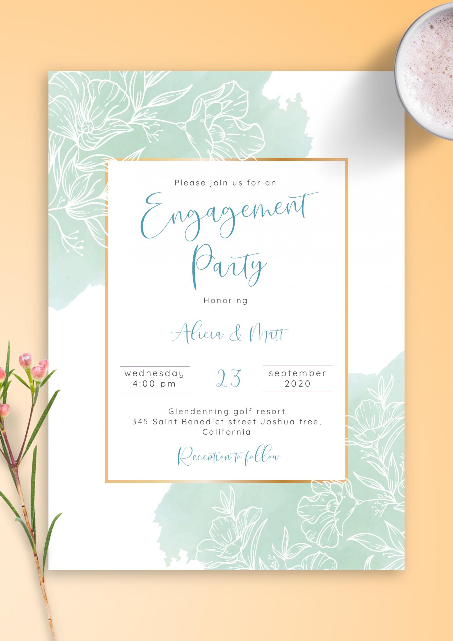 engagement party invite TEMPLATE White floral engagement invitation PRINTABLE hen bridal shower bachelorette Daisy details card EDITABLE
